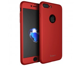 Husa iPaky 360 grade Ultra Slim iPhone 8 Plus Folie Sticla Inclusa Red