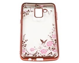 Husa Spate Forcell Bling Diamond Samsung A8 2018 Rose Gold