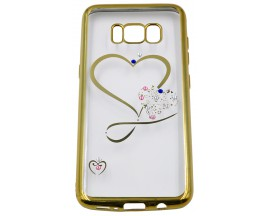 Husa Spate Forcell Bling Diamond Samsung S8 Gold Hart