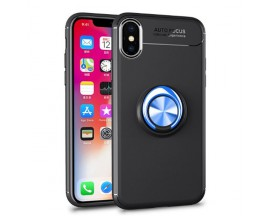 Husa Spate Silicon Premium iRing Metalic Mixon iPhone X, iPhone 10 Cu Ring Metalic Pe Spate Negru-Blue