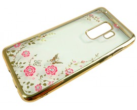 Husa Spate Forcell Bling Diamond Flower Samsung S9 Plus Gold