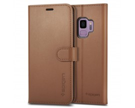 Husa Premium Originala Spigen Wallet Tip Carte Samsung S9 Coffee Brown