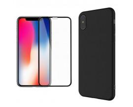 Set: Husa Ultra Slim si Folie Sticla Premium 5D iPhone X ,iPhone 10 Negru ,Mixon