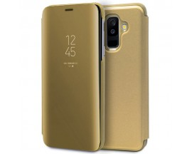 Husa Samsung Galaxy A6+ Plus (2018) - Flip Mirror tip Carte Cu Folie Nano Glass Mixon Inclusa Gold