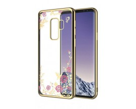 Husa Spate Flower Diamond Samsung J6 2018 Gold Silicon