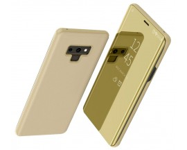 Husa Tip Carte Mirror Samsung Note 9 Gold