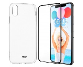 Set Premium Husa Roar Anti Shock si Anti Alunecare Transparenta Si Folie 3D Premium Mixon Pro Full Glue iPhone XS Max