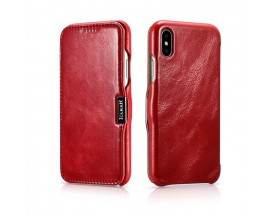 Husa Premium Flip Cover Piele Icarer Vintage iPhone X,iPhone 10 Red