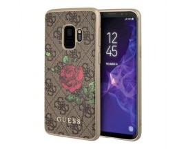 Husa Premium Guess Flower Brown Spate Samsung Galaxy S9