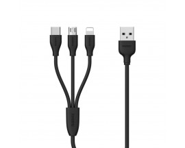 Cablu De Date 3 In 1 Remax Suda Rc-109th Negru Micro Usb, Lightning, Type C