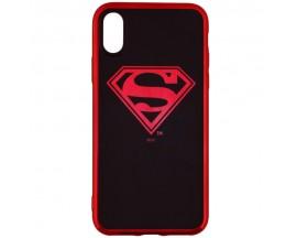 Husa Spate iPhone X /XS DC Comics Superman Negru Rosu Chrome Licentiata