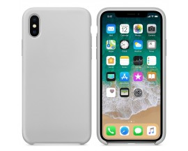 Husa Silicon Apple Style Fara Logo iPhone X/xs Interior Alcantara Grey