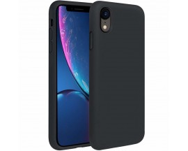 Husa Silicon Apple Style Fara Logo iPhone Xr Interior Alcantara Black