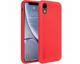 Husa Silicon Apple Style Fara Logo iPhone Xr Interior Alcantara Red