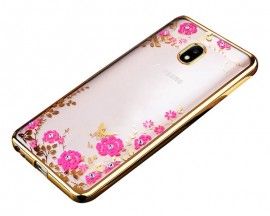 Husa Spate Flower Diamond Samsung J5 2016 Gold Silicon