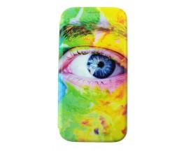 Husa Flip Carte Cu Magnet Lux Upzz Art Huawei P20 Lite Eyes