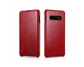Husa Premium Flip Cover Piele Icarer Vintage Samsung Galaxy S10 Plus Red