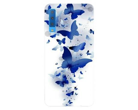 Husa Silicon Soft Upzz Print Samsung Galaxy A7 2018 Model Blue Butterflies