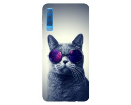 Husa Silicon Soft Upzz Print Samsung Galaxy A7 2018 Model Cool Cat