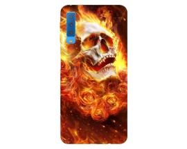 Husa Silicon Soft Upzz Print Samsung Galaxy A7 2018 Model Flame Skull