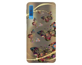 Husa Silicon Soft Upzz Print Samsung Galaxy A7 2018 Model Golden Buterfly