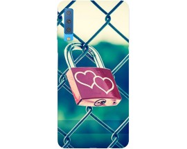 Husa Silicon Soft Upzz Print Samsung Galaxy A7 2018 Model Heart Lock