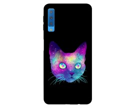 Husa Silicon Soft Upzz Print Samsung Galaxy A7 2018 Model Neon Cat