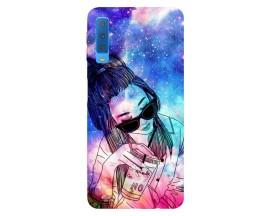 Husa Silicon Soft Upzz Print Samsung Galaxy A7 2018 Model Univers Girl