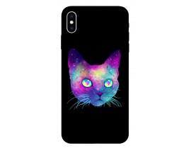 Husa Silicon Soft Upzz Print iPhone Xs Max Model Neon Cat