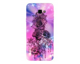 Husa Silicon Soft Upzz Print Samsung J4+ Plus 2018 Model Neon Rose