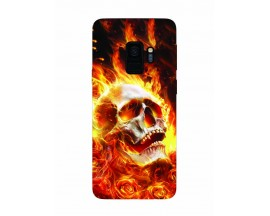 Husa Silicon Soft Upzz Print Samsung Galaxy S9 Model Flame Skull