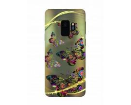 Husa Silicon Soft Upzz Print Samsung Galaxy S9 Model Golden Butterflys