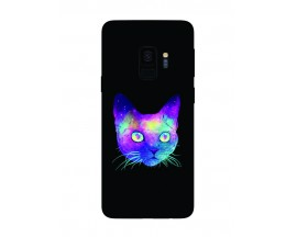 Husa Silicon Soft Upzz Print Samsung Galaxy S9 Model Neon Cat