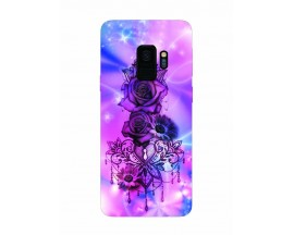 Husa Silicon Soft Upzz Print Samsung Galaxy S9 Model Neon Rose
