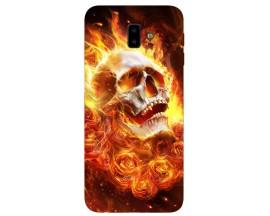 Husa Silicon Soft Upzz Print Samsung J6+ Plus 2018 Model Flame Skull