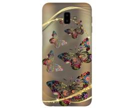 Husa Silicon Soft Upzz Print Samsung J6+ Plus 2018 Model Golden Butterfly