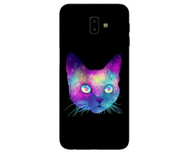 Husa Silicon Soft Upzz Print Samsung J6+ Plus 2018 Model Neon Cat