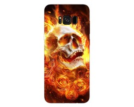 Husa Silicon Soft Upzz Print Samsung Galaxy S8 Model Flame Skull