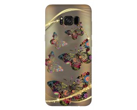 Husa Silicon Soft Upzz Print Samsung Galaxy S8 Model Golden Butterfly