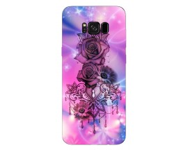 Husa Silicon Soft Upzz Print Samsung Galaxy S8 Model Neon Rose