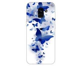 Husa Silicon Soft Upzz Print Samsung Galaxy A8 2018 Model Blue Butterflyes
