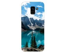 Husa Silicon Soft Upzz Print Samsung Galaxy A8 2018 Model Blue