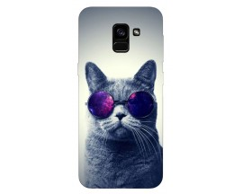 Husa Silicon Soft Upzz Print Samsung Galaxy A8 2018 Model Cool Cat