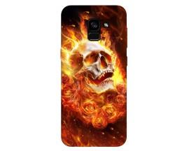 Husa Silicon Soft Upzz Print Samsung Galaxy A8 2018 Model Flame Skull