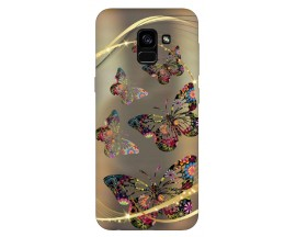 Husa Silicon Soft Upzz Print Samsung Galaxy A8 2018 Model Golden Butterflys