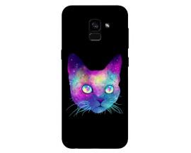 Husa Silicon Soft Upzz Print Samsung Galaxy A8 2018 Model Neon Cat