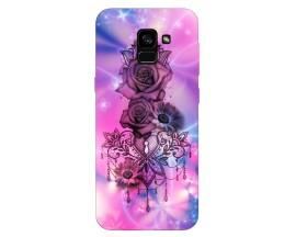 Husa Silicon Soft Upzz Print Samsung Galaxy A8 2018 Model Neon Rose