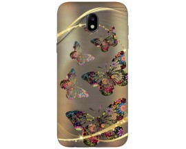 Husa Silicon Soft Upzz Print Samsung Galaxy J3 2017 Model Golden Butterflys