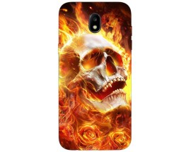 Husa Silicon Soft Upzz Print Samsung Galaxy J7 2017 Model Flame Skull