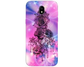 Husa Silicon Soft Upzz Print Samsung Galaxy J7 2017 Model Neon Rose
